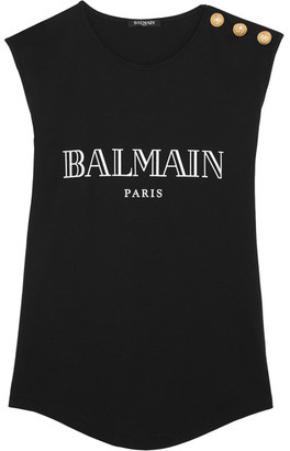 Balmain - Button-embellished Printed Cotton-jersey Top - Black $205 thestylecure.com