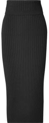 Joseph Ribbed Stretch-knit Midi Skirt - Black