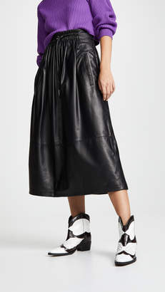 Tibi Drawstring Waist Leather Skirt