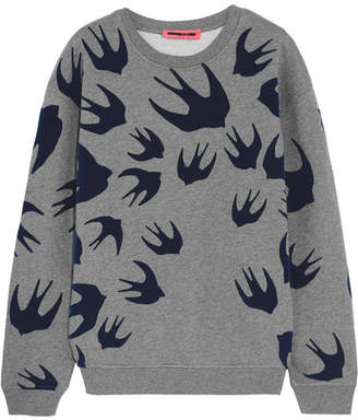 McQ Alexander McQueen - Flocked Cotton-blend Terry Sweatshirt - Gray $330 thestylecure.com