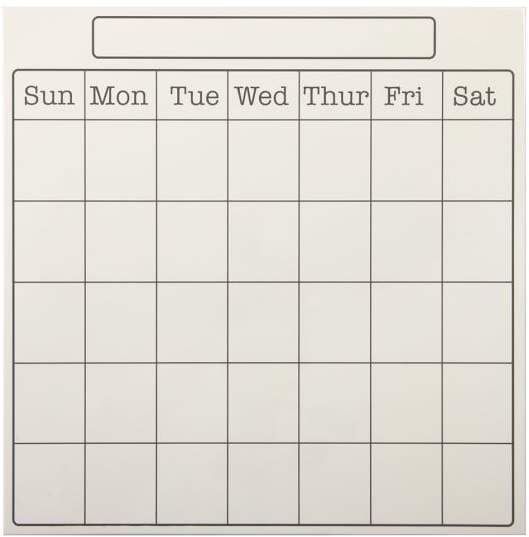 Style Tile 2.0, White Monthly Calendar Dry Erase