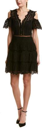 Rebecca Taylor Cold-Shoulder Silk-Blend A-Line Dress