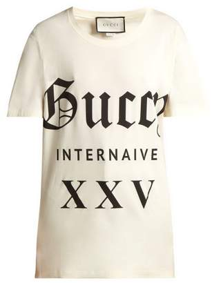 Gucci Printed Cotton Jersey T Shirt - Womens - White