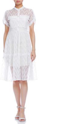 Paola Frani (パオラ フラーニ) - PAOLA FRANI タブスリーブ インナー付 レースドレス ホワイト 38