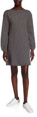 Lilla P Striped Boat-Neck Shift Dress