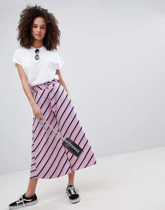 Bershka stripe culotte in pink