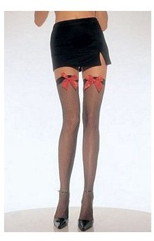Leg Avenue Women's Fishnet Stockings with Bow, Black/Red, One Size