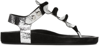 Isabel Marant Silver Leakey Sandals $505 thestylecure.com