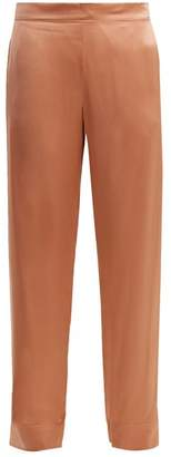 Asceno - Side Stripe Wide Leg Silk Pyjama Trousers - Womens - Pink Multi