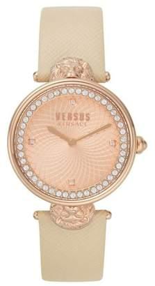 Versace Victoria Leather Strap Watch, 34mm