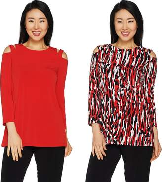 Susan Graver Printed & Solid Liquid Knit Set of 2 Cold Shoulder Tunics