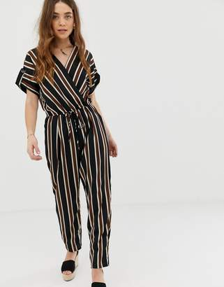 1011f77baab Gilli wrap front jumpsuit with tie waist in stripe
