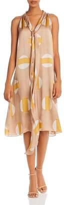Theory Scarf-Neck Printed Silk Dress