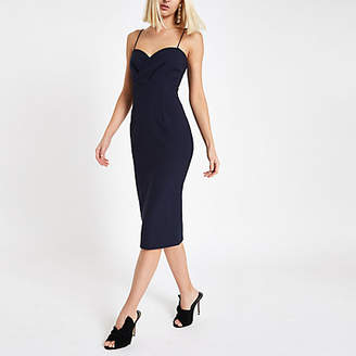 River Island Womens Navy tulip style bodycon midi dress