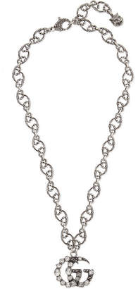 Gucci Oxidized Silver-tone Crystal Necklace