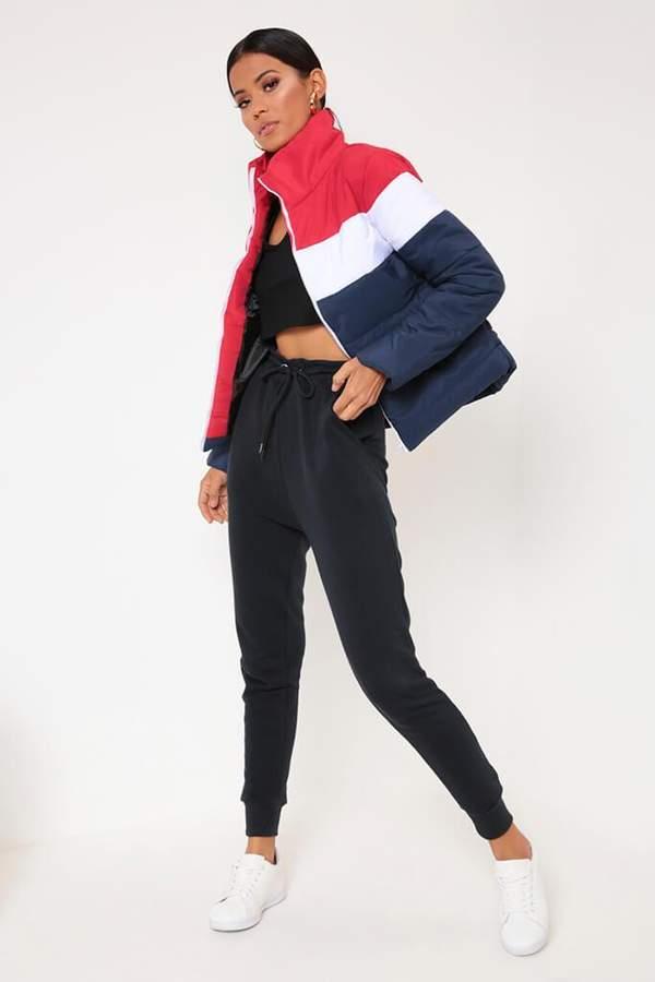 Isawitfirst Blue Colourblock Stripe Padded Jacket