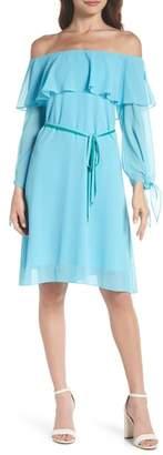 Sam Edelman Off the Shoulder Ruffle & Tie Dress
