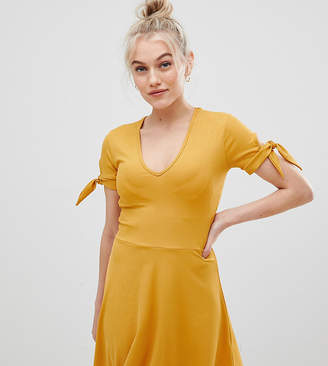 Miss Selfridge Petite tie sleeve ribbed jersey dress in yellow