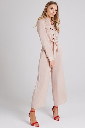 Girls On Film Liquid Beige Utility Jumpsuit