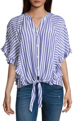BELLE + SKY Cape sleeve Tie Front Blouse
