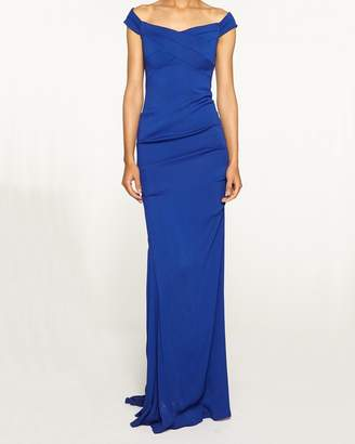 Nicole Miller New Stretch Crepe Off The Shoulder Gown