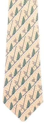 Hermes Christmas Print Silk Tie