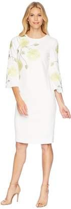 Tahari ASL Long Sleeve Floral Embroidered Crepe Sheath Dress Women's Dress