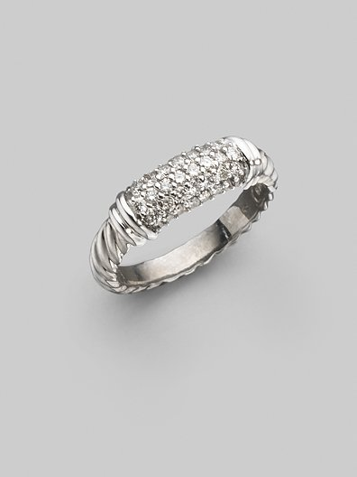 David Yurman Diamond, Sterling Silver & 18K White Gold Ring