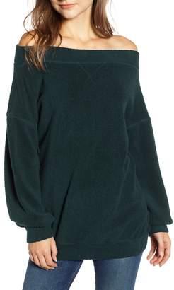 Stateside Off the Shoulder Fleece Sweatshirt