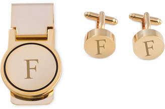 Bey-Berk Men's Gold-Tone Monogrammed Cuff Links & Money Clip Set