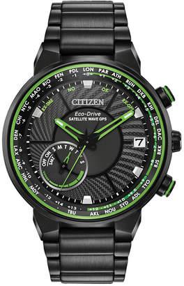 Citizen Eco-Drive Men's Satellite Wave-World Time Gps Black-Tone Stainless Steel Bracelet Watch 44mm