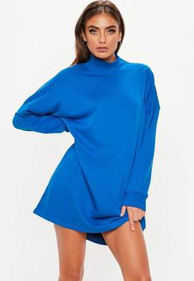 Missguided Blue Oversized High Neck Zip Front Sweater Dress