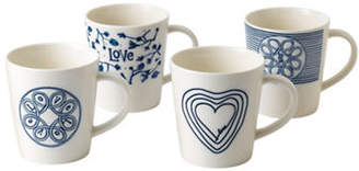 ED Ellen Degeneres Crafted by Royal Doulton Four-Piece Blue Love Accent Mixed Mugs Set