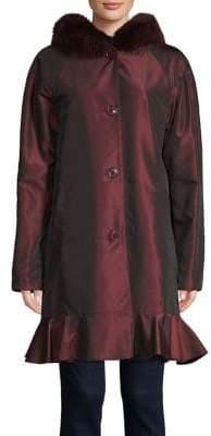 Sofia Cashmere Fox Fur-Trimmed Reversible Coat