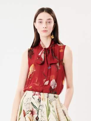 Oscar de la Renta Dark-Red Enchanted Forest Silk-Chiffon Tie-Neck Blouse