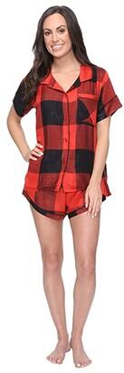 Plush Ultra Soft Short Sleeve Woven Buffalo Plaid PJ Set