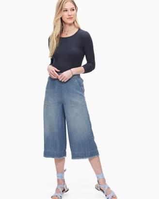 Splendid Cotton Twill Cropped Wide Leg Pant Chambray