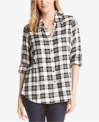 Karen Kane Plaid Roll-Tab Collared Shirt