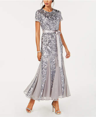 R & M Richards Petite Embellished Illusion Gown