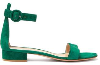 Gianvito Rossi - Portofino 20 Block Heel Suede Sandals - Womens - Dark Green