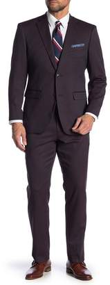 Perry Ellis Red Solid Two Button Notch Lapel Slim Fit Suit