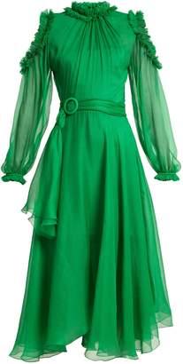 Maira ruffle-trimmed silk-mousseline dress