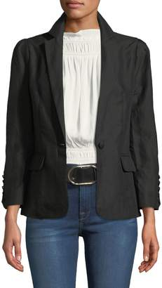 One-Button Pleated Linen Blazer