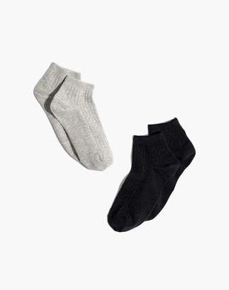 Madewell Two-Pack Ribbed Heather Anklet Socks