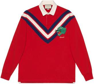 Gucci Chevron polo with panther face