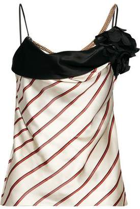 Lanvin Embellished Striped Satin-Jacquard Camisole