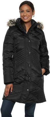London Fog Tower By Women's TOWER by Faux-Fur Collar Down Puffer Coat