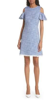 Kate Spade cold shoulder cotton blend tweed dress