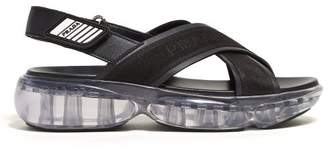 Prada Bubble Sole Cross Strap Slingback Sandals - Womens - Black