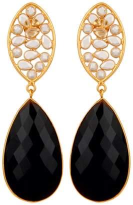 Carousel Jewels - Crystal and Black Onyx Drop Earrings